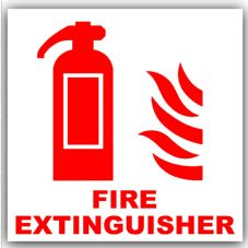 1 x Fire Extinguisher Sticker-Health & Safety Warning Sign Notice-Red on White-Car,Bus,Office,-Self Adhesive Sticker